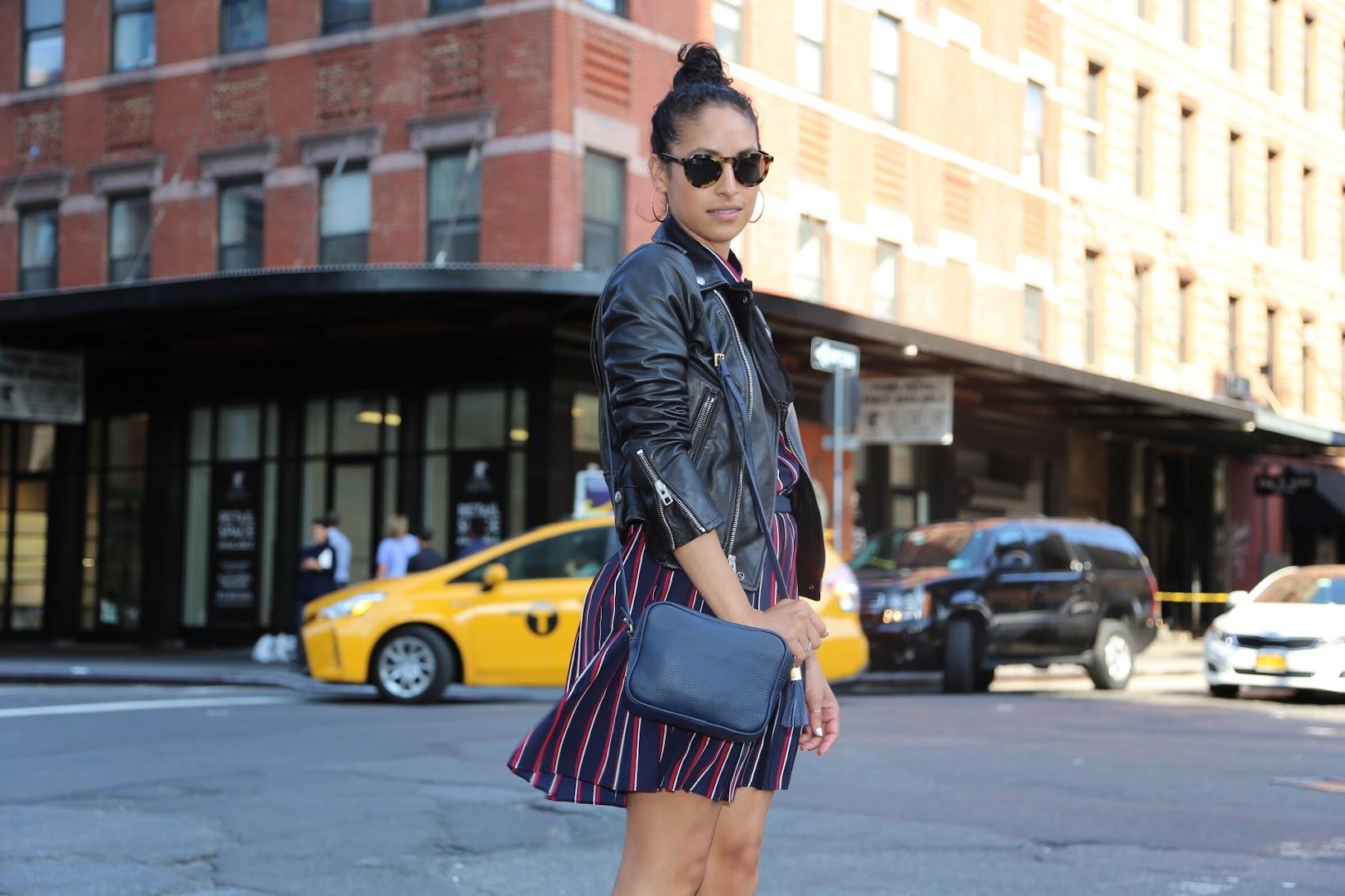 NYFW, NYC, all stripes, Banana Republic, It's Banana, stripes, Fall fashion, fall outfit, Gigi New york, hoop earrings, Frye harness boots