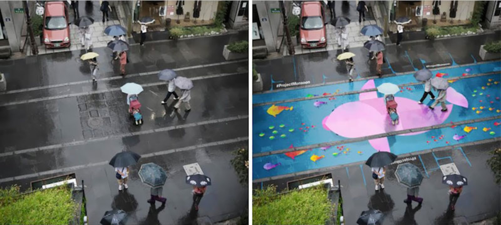 When It Rains In Seoul These Beautiful Murals Appear On The Roads