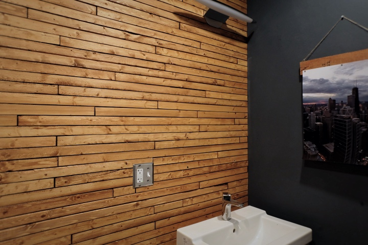 stained wood lath on wall
