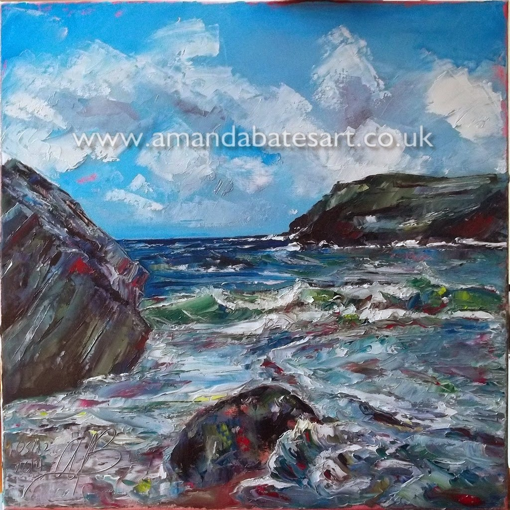 Oil painting of Tintagel Cove (Seascape, Ladscape, Rockscape) from the Beach based on sketch and photographs.