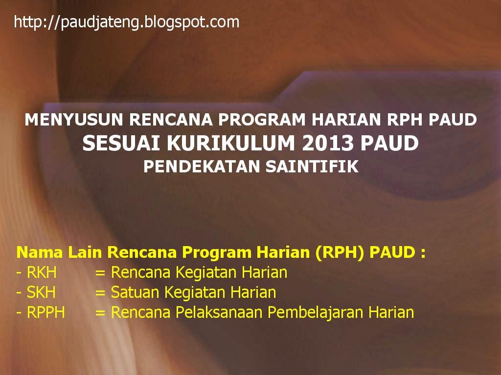 Menyusun Program Harian RKH RPH PAUD Kurikulum 2013