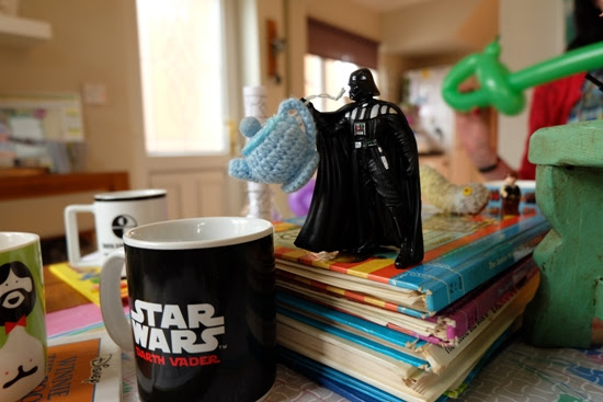 Darth Vader action figure pouring tea