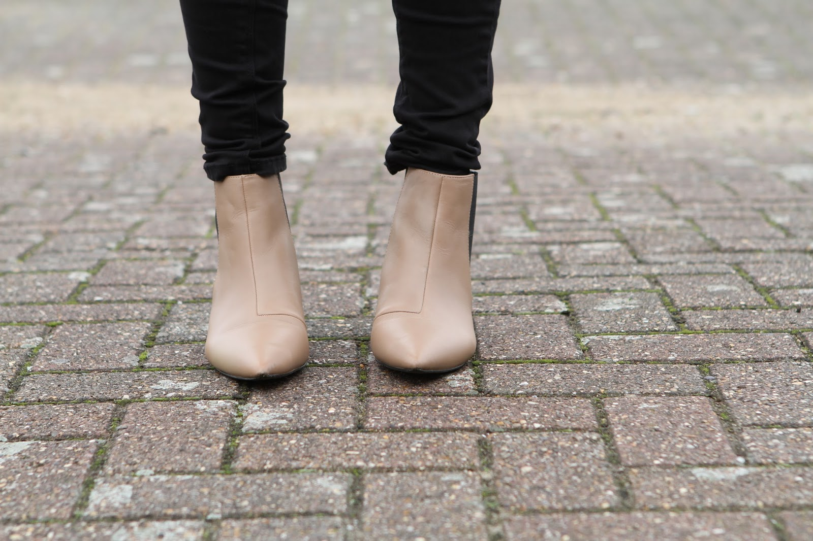 beige chelsea boots with kitten heels