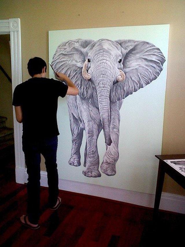 Scott Zaragoza, art in progress, elephant