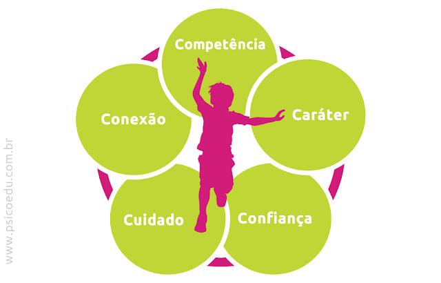 Psicologia positiva, Desenvolvimento positivo jovens, positive youth development, modelo dos cinco 5 C's Jacqueline Lerner, competência, cuidado, confiança, caráter e conexão.