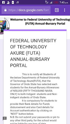 FUTA Scholarship/Bursary Award Disclaimer Notice