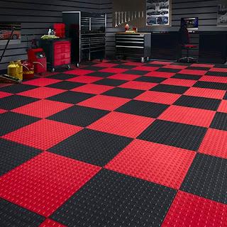 Greatmats TechFloor Premium Tile Garage Floor Red and Black