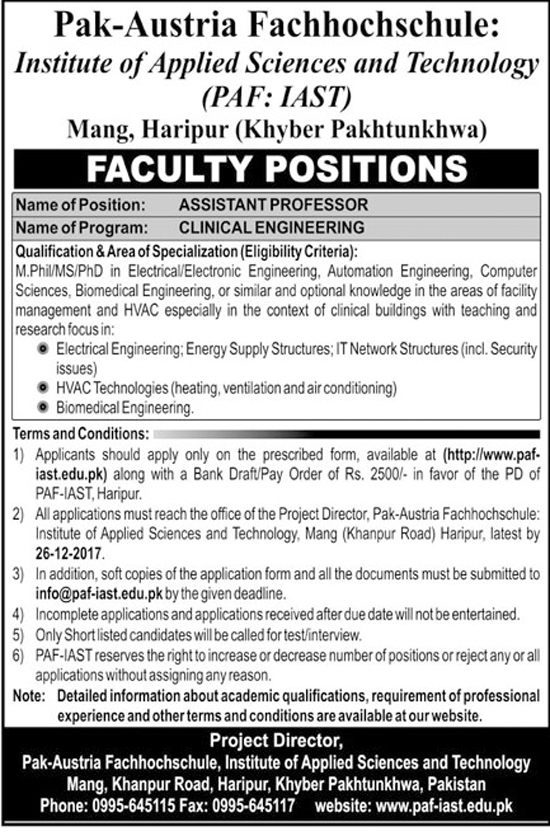 Jobs In Institute Of Applied Sciences And Technology  Peshawar Dec 2017
