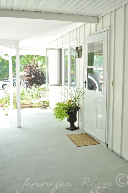 Amazing porch transformation and painted concrete floor and porch