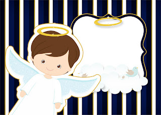 Brunette Boy Angel: Free Printable First Communion Invitations.
