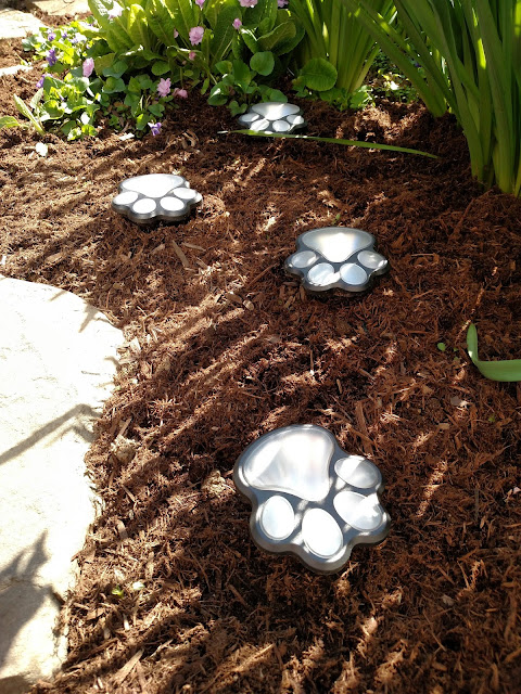 solar powered animal paw lights in garden