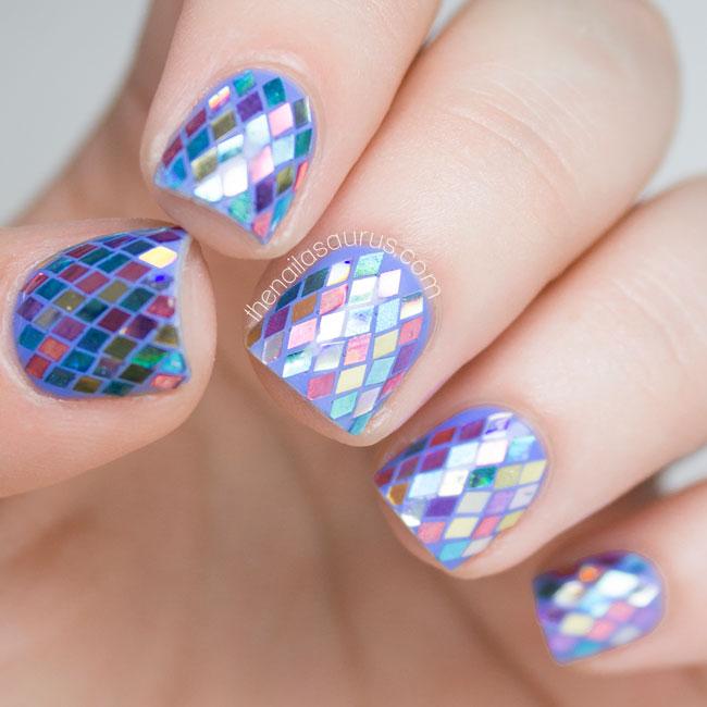 Rainbow Fish Glitter Placement Nail Art