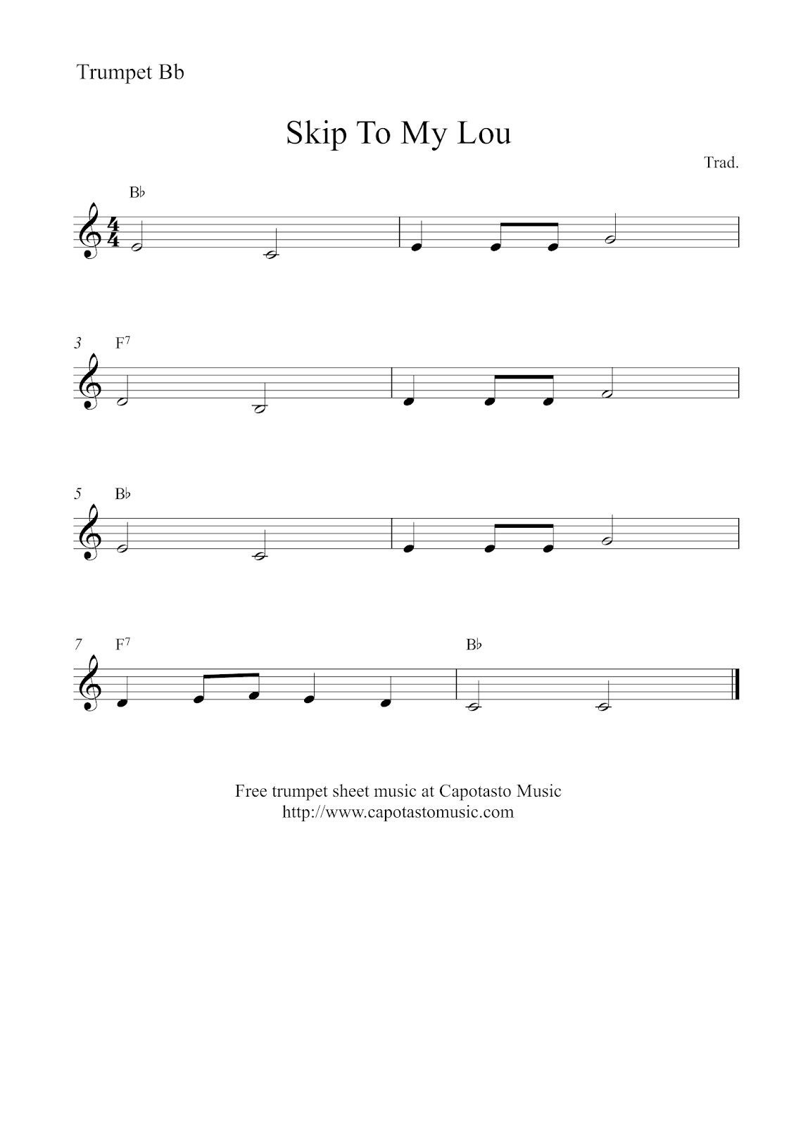 Free Easy Trumpet Sheet Music Skip To My Lou