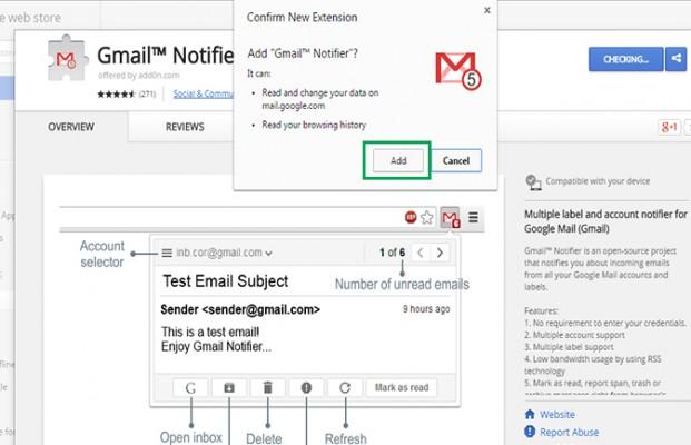 konfirmasi penerimaan ektensi Notifier Gmail