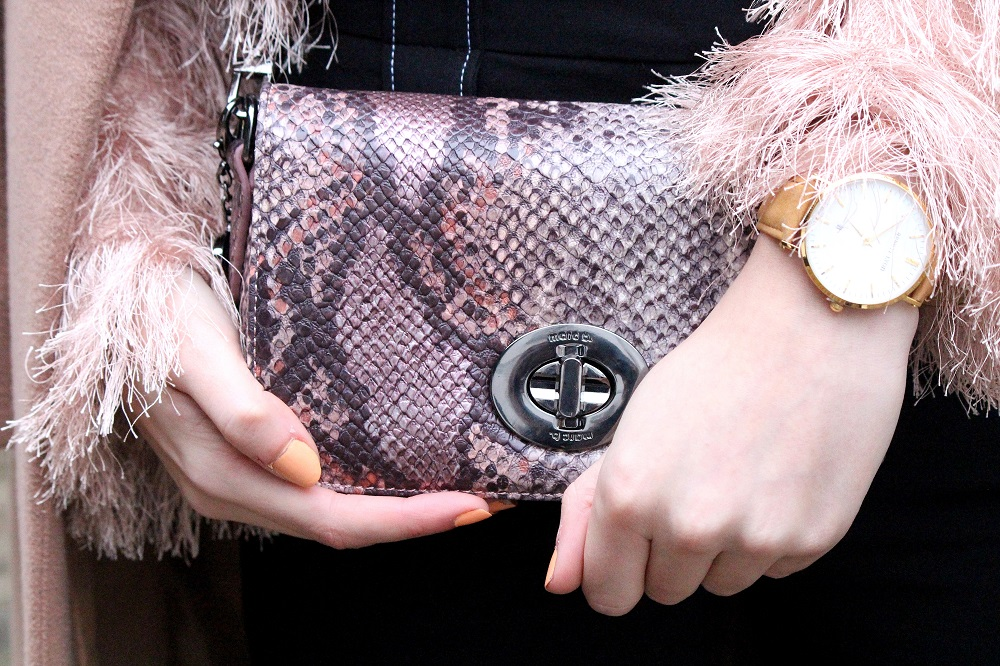 Pink snake print bag and abbott lyon suede watch