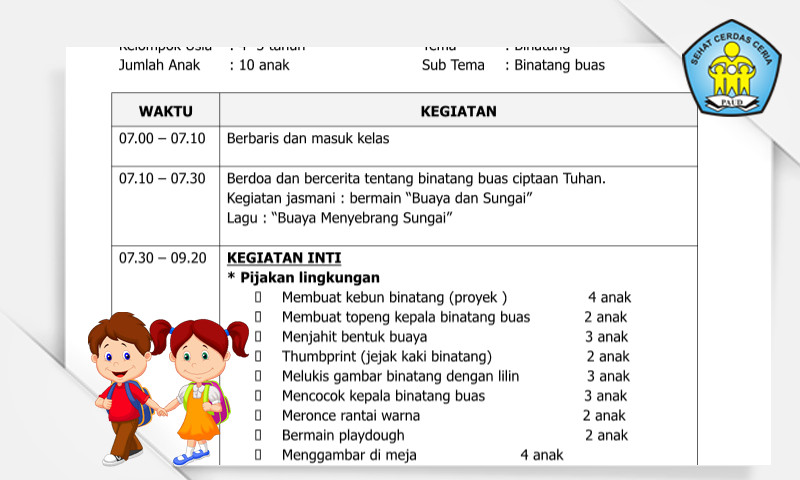 Contoh RKH Sentra Seni dan Kreativitas Tema Binatang Format Microsoft Word