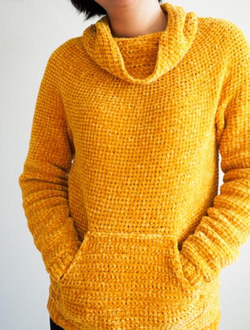 Mysa Velvet Sweatshirt Sweater - Free Crochet Pattern