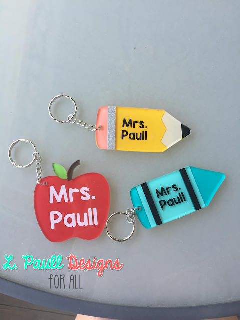 Check out these adorable teacher key chains by L. Paull Designs for All.