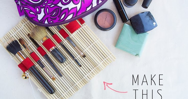 Diy No Sew Makeup Brush Roll From A Sushi Mat