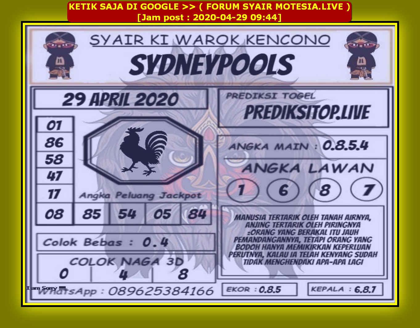 Kode syair Sydney Rabu 29 April 2020 67