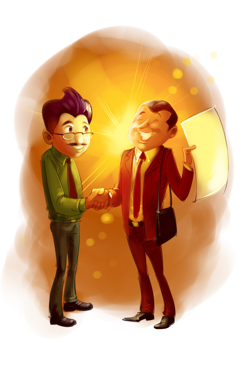 insurance agent with happy client cartoon illustration