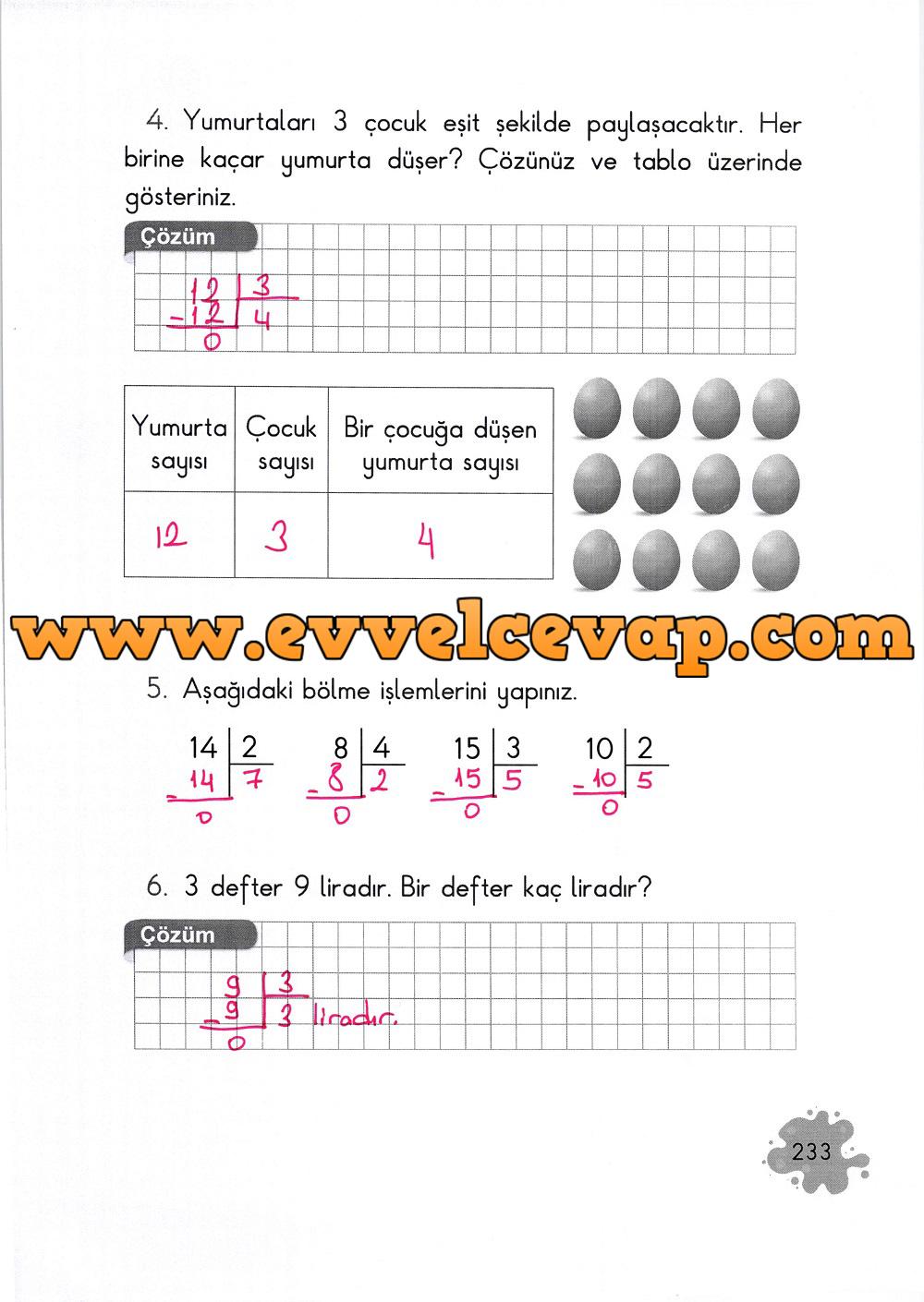 2. Sınıf Açılım Yayınları Matematik Ders Kitabı 233. Sayfa Cevapları