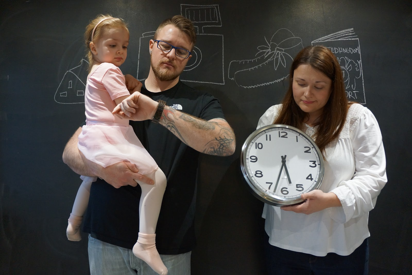 family checking the time