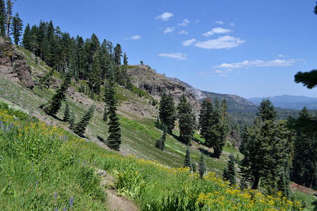 below the ridge