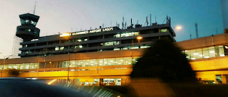 A view of Lagos international airport at night