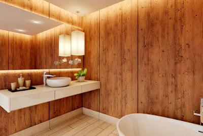 Aica Cerarl motif kayu untuk dinding partisi kamar mandi