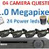 Bộ 4 camera ahd questek thân 1.0 Megapixel