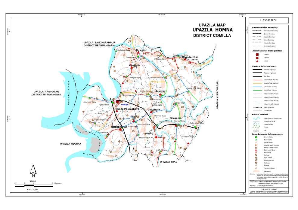 Homna Upazila Map Comilla District Bangladesh