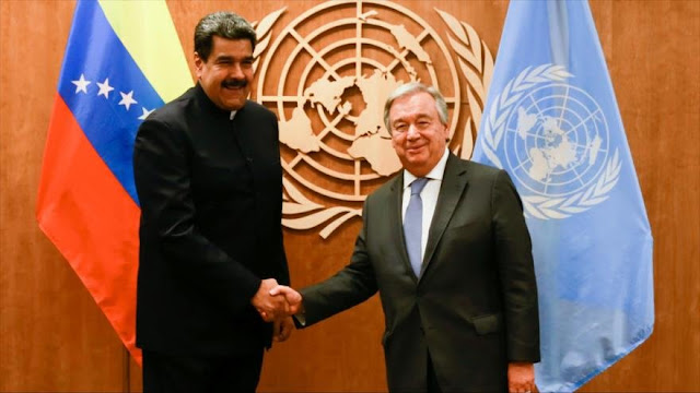 Maduro denuncia ante Guterres sanciones y amenazas a Venezuela