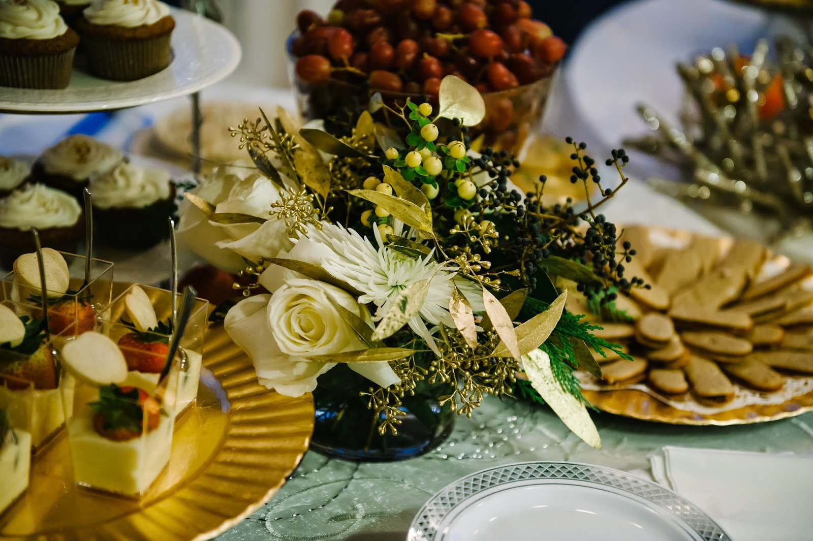 Gluten-Free Dessert Wedding Reception Table Flowers