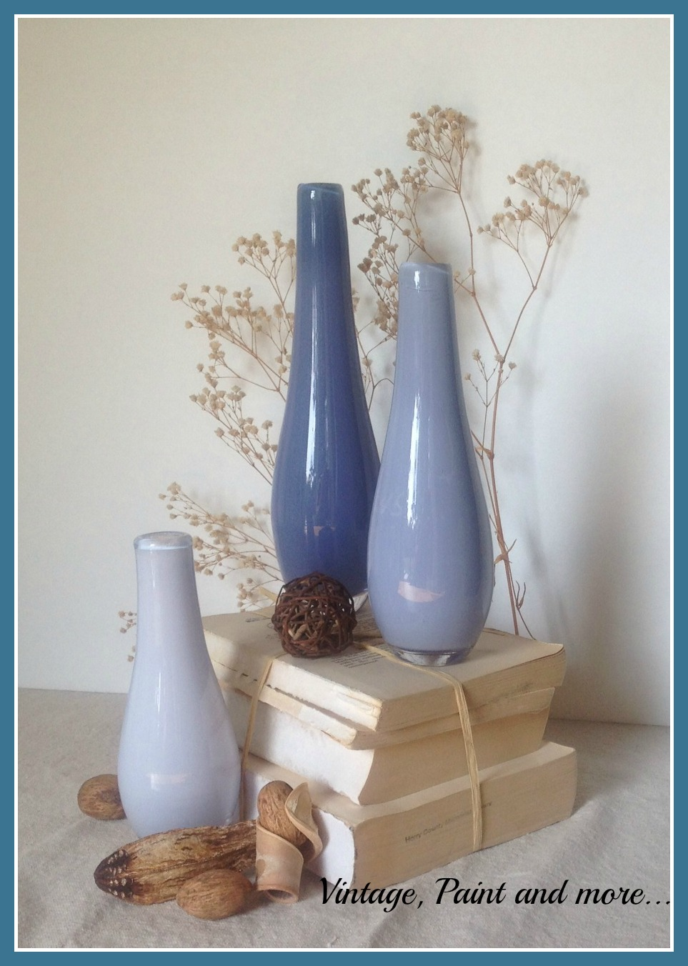 Vintage, Paint and more... glass painted vases done ombre effect for sea inspired decor