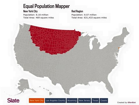 The same number of people live in New York (tiny orange blob on right) & the red region on left