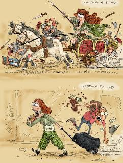 Meme de humor sobre posibles inspiraciones para la Boudica de Simon Scarrow