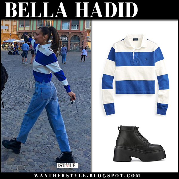 Bella Hadid in striped blue top, jeans and black ankle boots nake wolfe model street fashion june 27