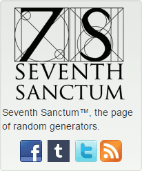 The Seventh Sanctum logo, a stylized 7 and capital S, with the text, Seventh Sanctum, the page of random generators.