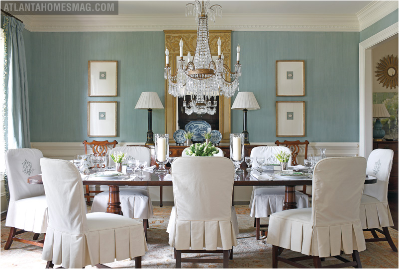 Green and blue dining room