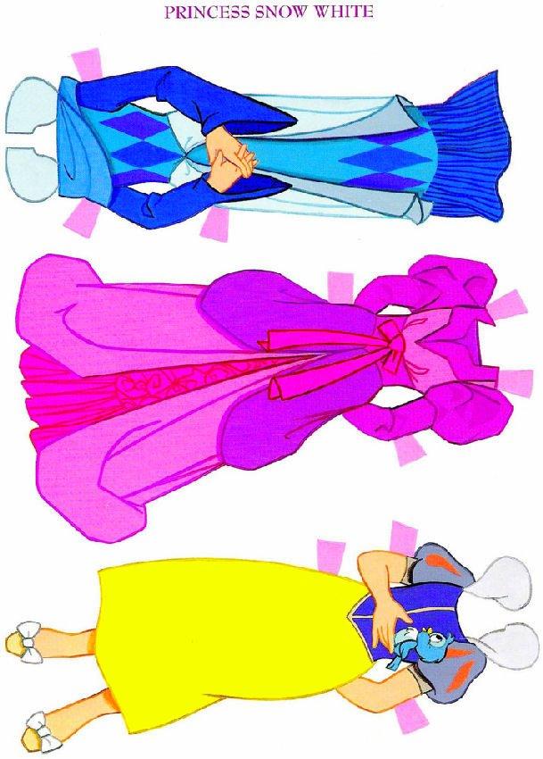 Princesas da Disney para você recortar e colocar as lindas roupinhas de papel: Branca de Neve, Cinderela, princesa Aurora e Ariel, a pequena sereia