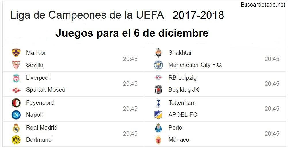 12- Calendario de juegos de la Champions League 2017-2018. Juegos de la Champions League el 6 de diciembre 2017