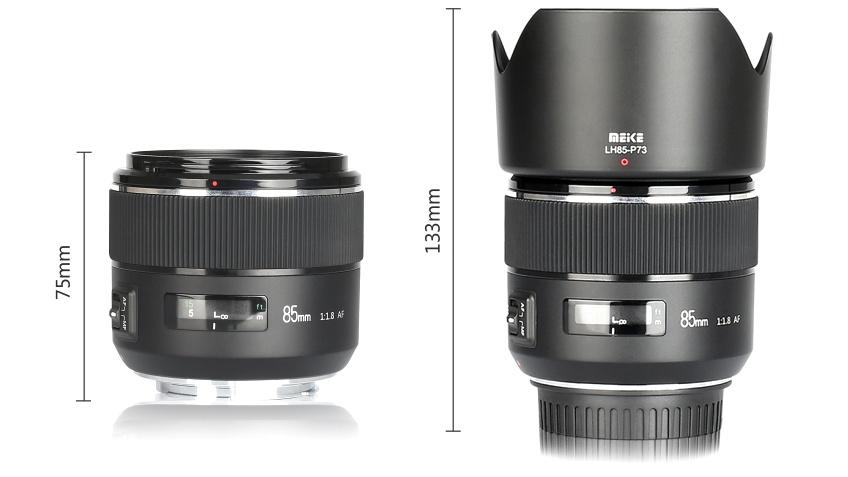 Габариты Meike MK 85mm f/1.8 AF с блендой и без