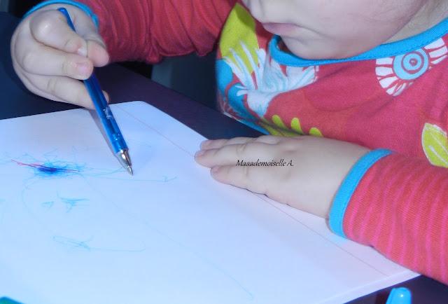 Activité : dessiner avec des stylos billes colorés