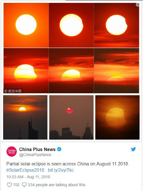 eclipse solar 11 de agosto de 2018 na China
