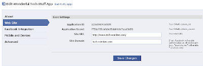 Facebook App Core Settings with App ID & Secret