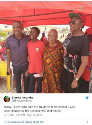 Emeka Ihedioha's Wife Ebere, Children Emeka, Ezinwa, Nkem, Kamsi & His Mother