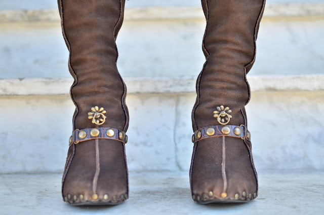 Roberto Cavalli chocolate suede bohemian boots