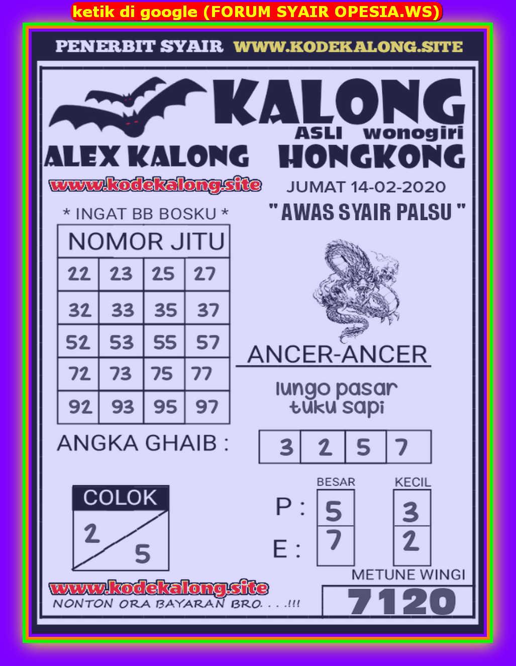 Kode syair Hongkong Jumat 14 Februari 2020 109