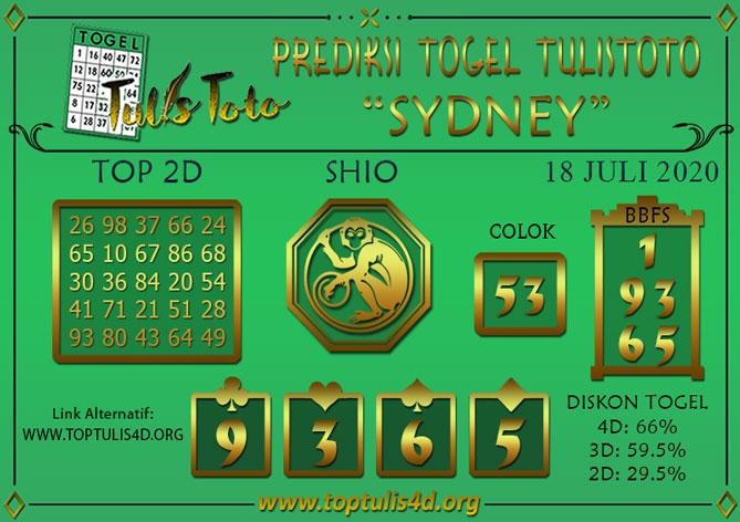 Prediksi Togel SYDNEY TULISTOTO 18 JULI 2020